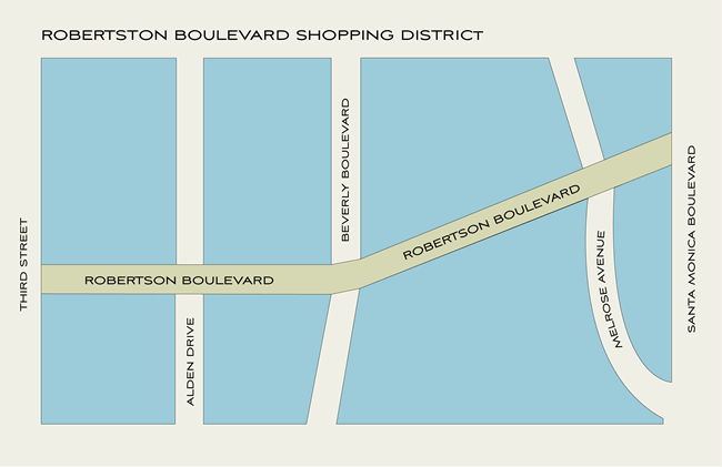 Map for Robertson Boulevard Shopping Beverly Hills Shopping